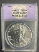 1989 Anacs Certified Silver Eagle Dollar