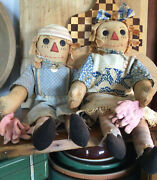 Primitive Handmade Grungy Raggedy Anne And Andy Dolls Farmhouse Country Americana