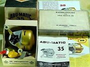 1960 Vintage Abumatic 35 Spin-casting Reel With Near-full Parts Box-used/xclnt++