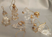 Mixed Set Of 10 Gilded Glass Ornaments. Angel Snowman Deer Tree