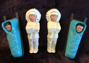 4 Vintage Celluloid Indian Chief And Baby Papoose Native American Plastic Dolls