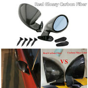Car Rearview Side Wing Mirrors F1 Racing Style Real Glossy Carbon Fiber Vintage