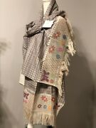 Vintage Mexican Rebozo Cotton Handmade Multicolor With Beads Shawl Wrap Scarf