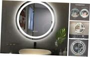 Led Lighted Bathroom Mirror Round 36 Large Frameless Shatter-proof Dimmable