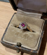 Top Quality 18ct Gold Antique Art Deco Ruby And Diamond Daisy Cluster Ring 2.54g