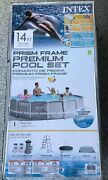 Intex Prism Metal Frame Above Ground Swimming Pool With Pump 14ft X 42in 14and039x42