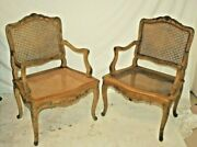 Pair Antique Bleached Oak French Arm Chairs With Caned Back And Seat