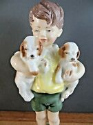 Royal Worcester Figurine All Mine Freda Doughty Boy Holding Puppies No 3519