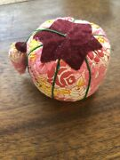 Rare Flower Print Velvet Top Tomato Sewing Pin Cushion Strawberry Emery With Pin