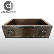 Copper Apron/farmhouse With Rings Kitchen Sink 33x22x9 No Custom Duties
