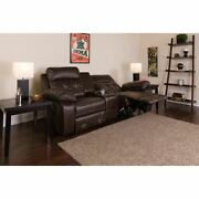Reel Comfort Series 2-seat Reclining Brown Leathersoft Theater Seating Unit W/st
