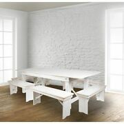 Hercules Series 8and039 X 40 Rustic White Folding Farm Table And Six Bench Set