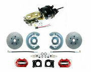 1964-66 Ford Mustang Front Power Brake Conv Kit Red Low Profile M/c Xd Rotors
