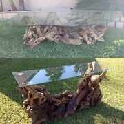 Vintage Mid Century Burl Wood Coffee And Console Tables Rare 2 Pc