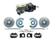 1964-66 Ford Mustang Front Power Brake Conv Kit Black Booster M/c Xd Rotors