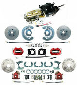 Front And Rear Mustang 1964-66 Power Disc Brakes D/s Rotors And Red Pc Calipers