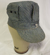 Vintage Lee Striped Engineers Train Conductors Hat Cap Union Made Usa Xs