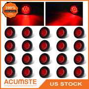 20pc 2 Red Round Side Marker Clearance Light Trailer Truck 9 Led 12v Waterproof