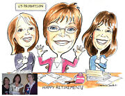 Custom Caricature Watercolor With Theme Hand Drawn And Painted From Your Photo