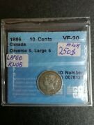 10 Cents 1886 Observe 5 Cccs Vf-20 Coin Canada