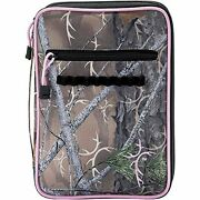 Camouflage And Pink 8x11 Inch Reinforced Polyester Bible Cover Case With Handle