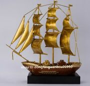 Chinese Copper Bronze Home Feng Shui Decoration Wealth Yuanbao Sailing Boat