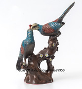 Chinese Art Deco Bronze Painted Magpie Picapica Plum Blossom Flower Bird Statue