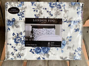 6-pc London Fog Queen Sheet Set - Blue Floral / Easy Care Lightweight Polyester