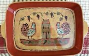 """Lang Redware Wine Country Large 12"""" X 16"""" Serving Platter By Susan Winget"""