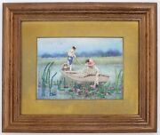Vintage Finished Crewel Full Color Monet Style Man And Woman In Boat On Pond