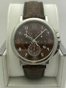 Mont Blanc Menand039s Summit Xl Brown Dial Brown Leather Strap Watch 7080