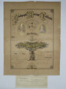 Antique 1871 Photograph Marriage Certificate From Champaign County Illinois