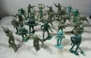 27 Vintage Giant Large Marx Tim-mee Plastic Army Men Figures Toys Usa 6 Soldier
