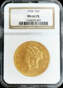 1904 Gold Proof Like Ngc Mint State 62 Pl 20 Us Liberty Double Eagle Coin