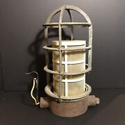 """Vintage Safety Cage Metal Lamp Light Insect Shield Fixture 12"""" Industrial"""