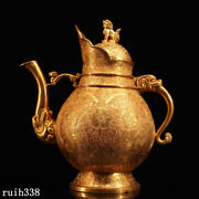 10.4 Ancient China Pure Copper Gilding Hand Carving Twining Flowers Teapot