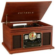 6-in-1 Nostalgic Bluetooth Record Player W/ 3-speed Turntable W/ Cd And Cassette