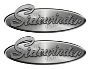 2 Sidewinder Oval Remastered Stickers. Brushed Metal Style - 10 Long