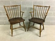 L. Hitchcock Paint Decorated Windsor Stick Back 440a Arm Chairs - A Pair