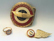 Northwest Airlines Airmail 10k Ring Pilot Wings Pin Belt Buckle Rare Set