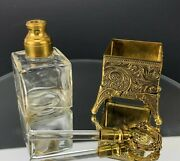 Vintage Glass Perfume Bottle And Stopper Dabber Brass Ormolu Beauty Footed Carrier