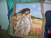 Needlepoint Painted Canvas Woman Holding Flower Picture 19 X 27 Gobelin