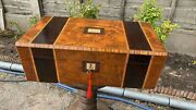 Beautiful Vintage Antique Writing Box Slope With Wood Inlay And Key C3