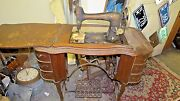 Antique Free 5 Treadle Sewing Machine And Base Stand Drawers