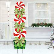 Candy Christmas Decorations Outdoor - 44in Peppermint Xmas Yard Stakes -