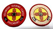 C1960s 2 Philmont Volunteer Training Center Patches 2.5 Boy Scout Nm Cloth Back
