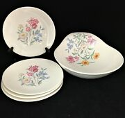 Clarice Cliff Pink Susan Bowl And 4 Serving Plates Royal Staffordshire Ceramics