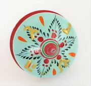 Vintage Hand Made Painted Spinning Top Wood Glitter Top Nice Design Early Toy