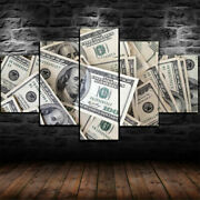 5 Pcs Canvas Money Dollars Stacks Painting Wall Art Printed Picture Home Decor