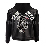 Samcro Menand039s Skul Patch Casual Classic Bomber Style Black Leather Hooded Jacket
